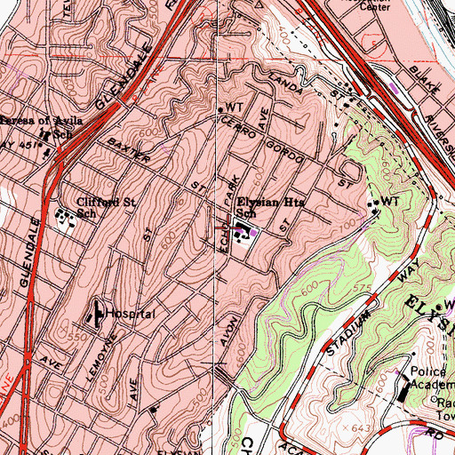 Topographic Map of Elysian Heights Elementary School, CA