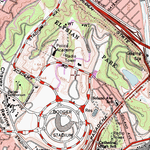Topographic Map of Elysian Park, CA