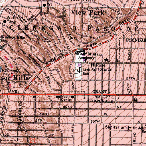 Topographic Map of Fifty-Fourth Street Elementary School, CA