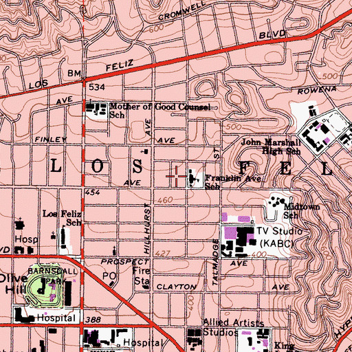 Topographic Map of Franklin Avenue Elementary School, CA