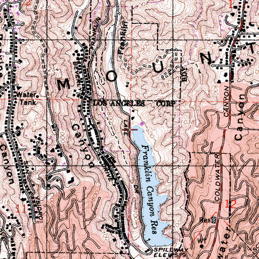 Topographic Map of Franklin Canyon, CA