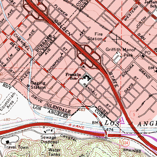 Topographic Map of Benjamin Franklin Elementary School, CA