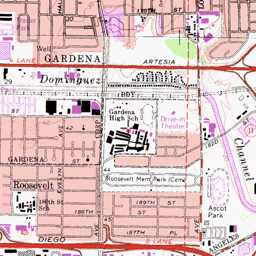 Topographic Map of Gardena High School, CA