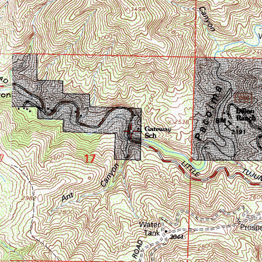 Topographic Map of Gateway School, CA
