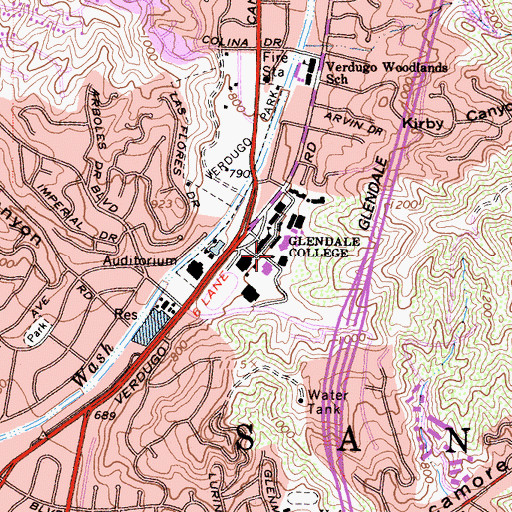 Topographic Map of Glendale Community College, CA