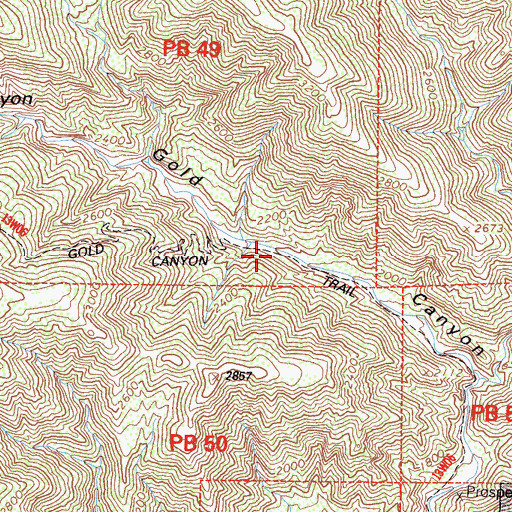 Topographic Map of Gold Canyon Trail, CA