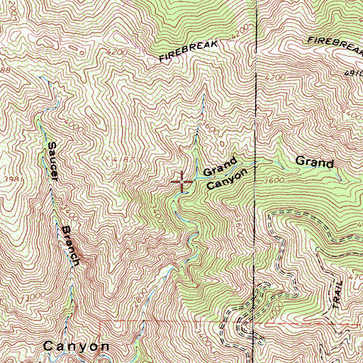 Topographic Map of Grand Canyon, CA