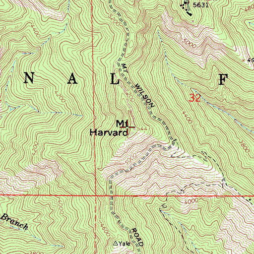 Topographic Map of Mount Harvard, CA