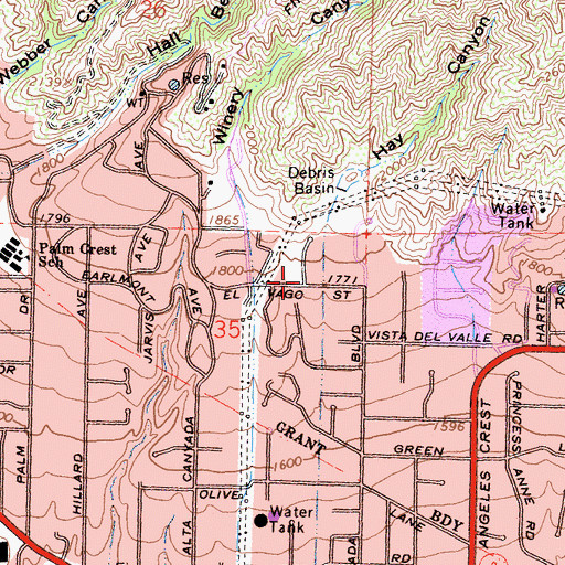 Topographic Map of Hay Canyon, CA