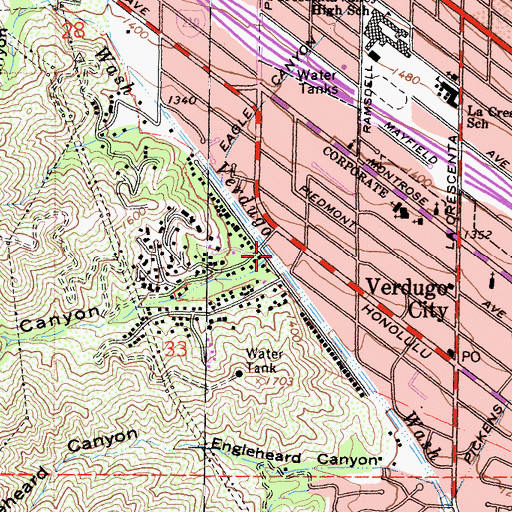 Topographic Map of Henderson Canyon, CA
