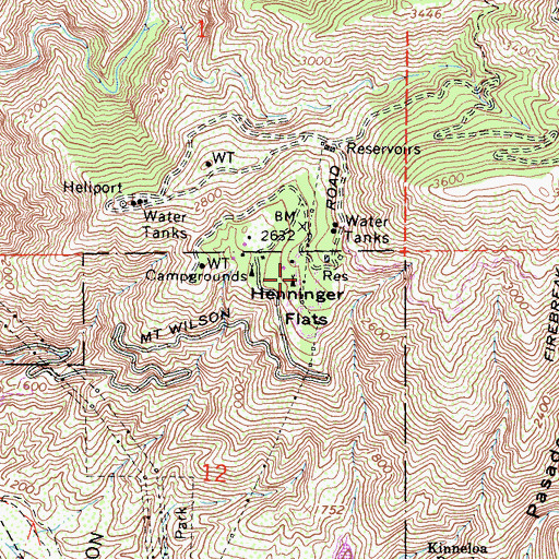 Topographic Map of Henninger Flats, CA