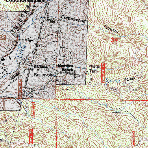 Topographic Map of Herreres Ranch, CA