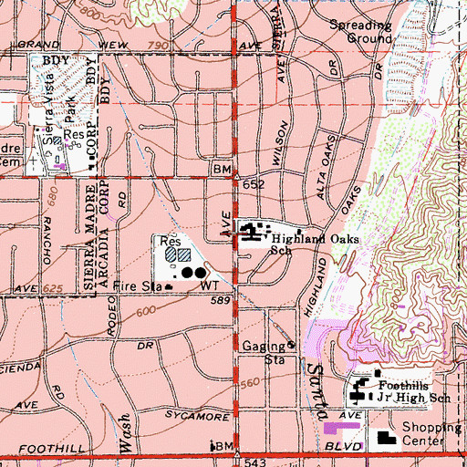 Topographic Map of Highland Oaks Elementary School, CA