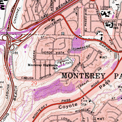 Topographic Map of Highlands Park, CA