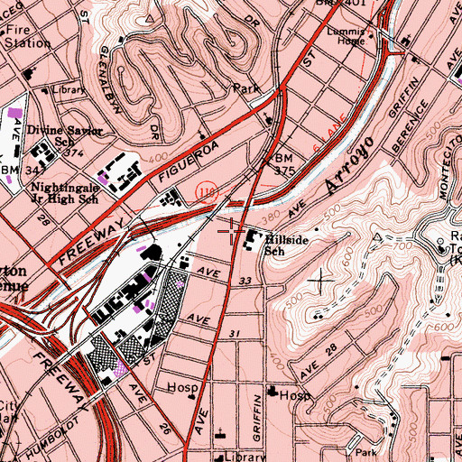 Topographic Map of Hillside Elementary School, CA