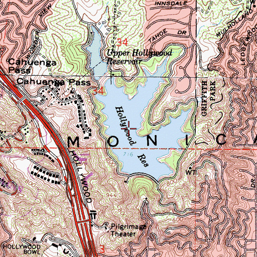 Topographic Map of Hollywood Reservoir, CA