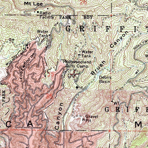 Topographic Map of Hollywoodland Girls Camp, CA