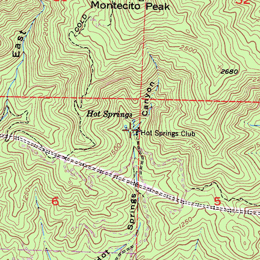 Topographic Map of Hot Springs Club, CA