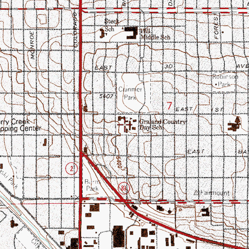 Topographic Map of Graland Country Day School, CO