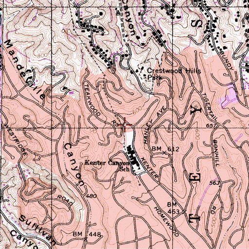 Topographic Map of Kenter Canyon, CA