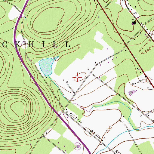 Topographic Map of Tate Airport, PA