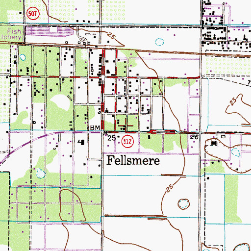 Topographic Map of Fellsmere Community Bible Church, FL