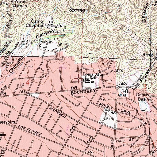 Topographic Map of Loma Alta Elementary School, CA