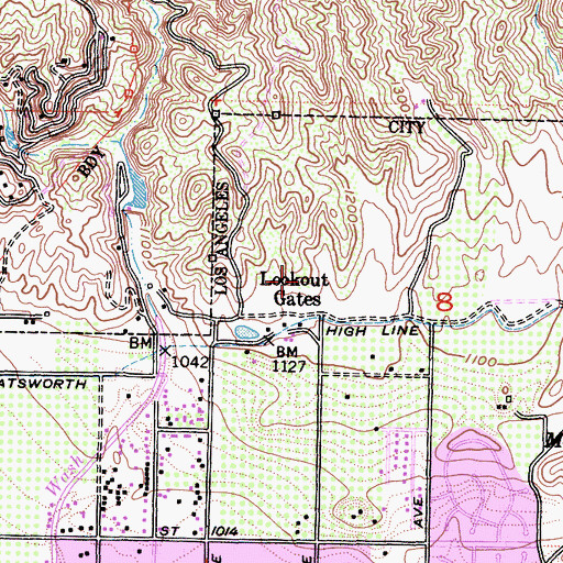 Topographic Map of Lookout Gates, CA