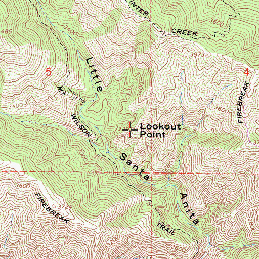 Topographic Map of Lookout Point, CA