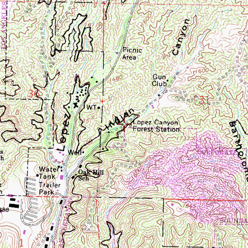 Topographic Map of Lopez Canyon Forest Station, CA