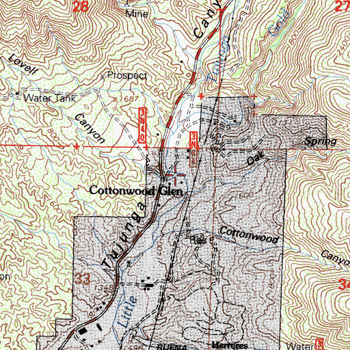 Topographic Map of Lovell Canyon, CA