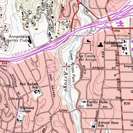 Topographic Map of Lower Arroyo Park, CA