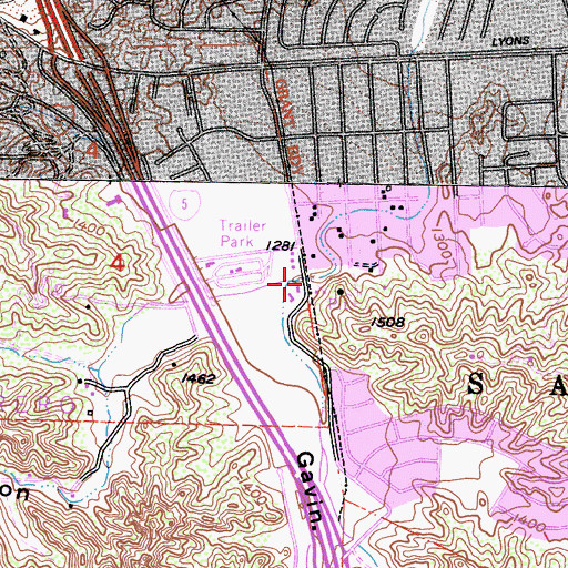 Topographic Map of Lyon Canyon, CA