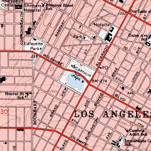 Topographic Map of MacArthur Park, CA