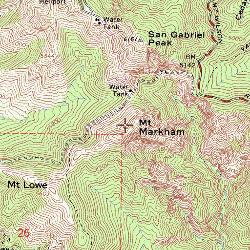 Topographic Map of Mount Markham, CA