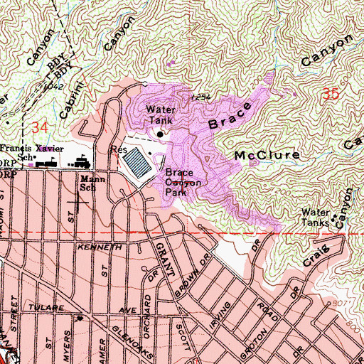 Topographic Map of McClure Canyon, CA