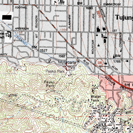 Topographic Map of McGroarty Park, CA
