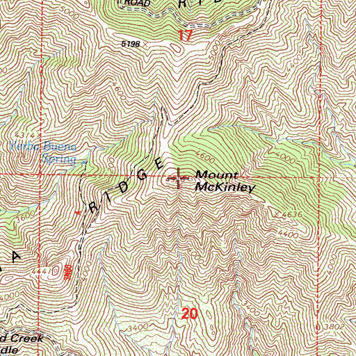 Topographic Map of Mount McKinley, CA
