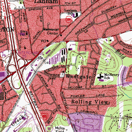 Topographic Map of Bethany Way of the Cross Church of Christ, MD