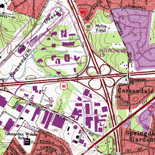 Topographic Map of Interchange 7, MD