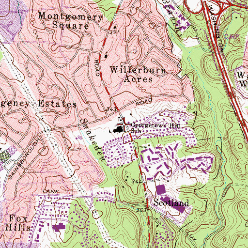 Topographic Map of Ivymount School, MD