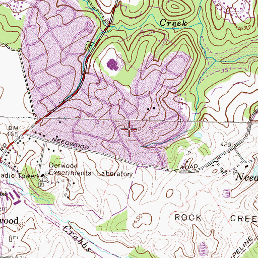 Topographic Map of Needwood Estates, MD