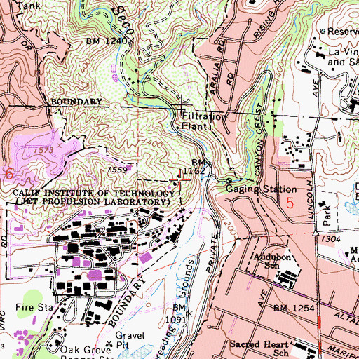 Topographic Map of Millard Canyon, CA