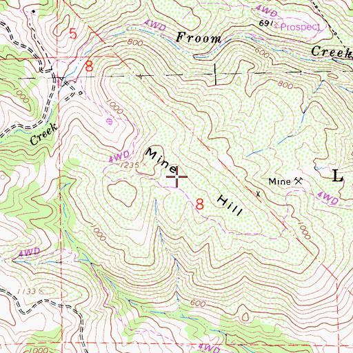 Topographic Map of Mine Hill, CA
