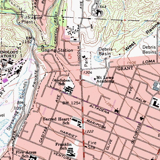 Topographic Map of Mount Lowe Academy, CA