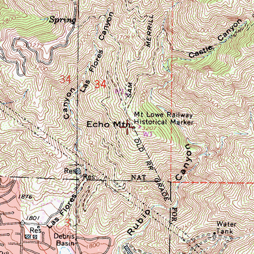 Topographic Map of Mount Lowe Railway Historical Marker, CA