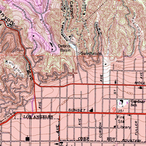 Topographic Map of Nichols Canyon, CA