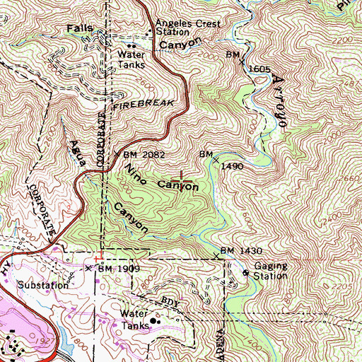 Topographic Map of Nino Canyon, CA