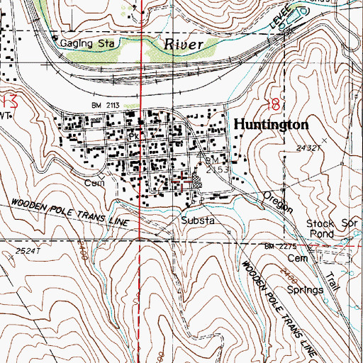 Topographic Map of Huntington School, OR