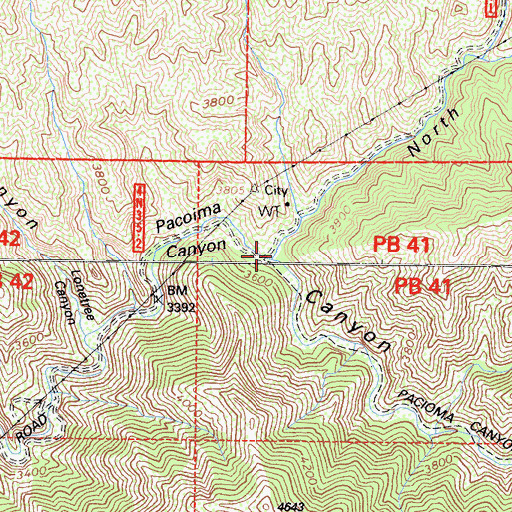 Topographic Map of North Fork Pacoima Canyon, CA